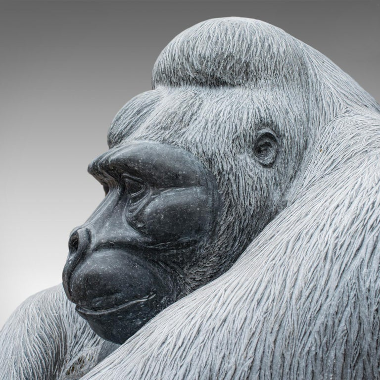 Large Sculptural Artwork Marble Statue Shabani Lowland Gorilla by Dominic Hurley For Sale 1