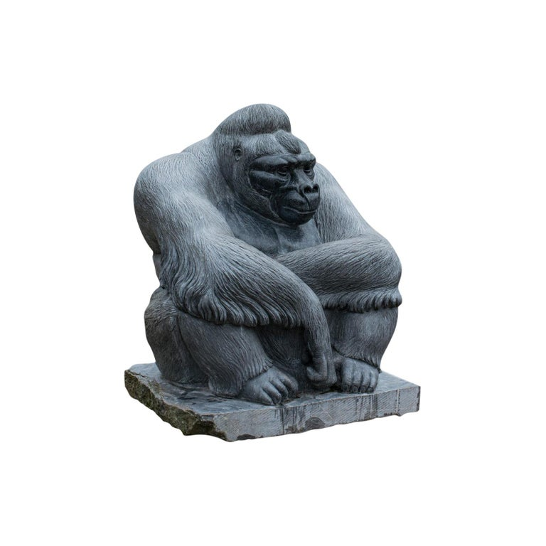 Large Sculptural Artwork Marble Statue Shabani Lowland Gorilla by Dominic Hurley For Sale