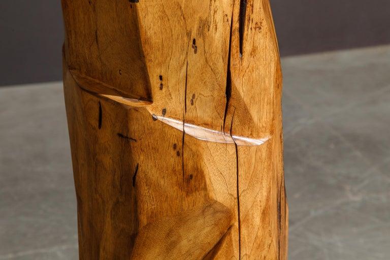 Large Sculptural California Craftsman Carved Wood Floor Lamp, circa 1970s 7