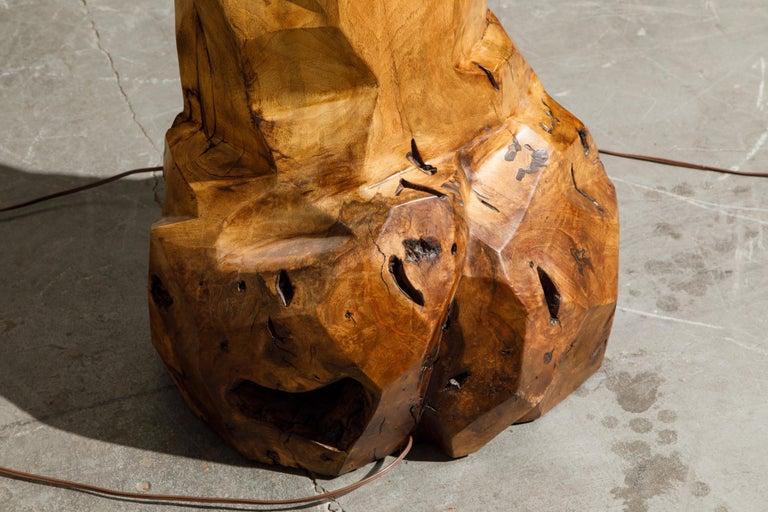Large Sculptural California Craftsman Carved Wood Floor Lamp, circa 1970s 9