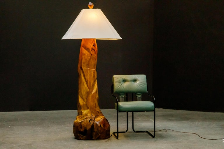 Large Sculptural California Craftsman Carved Wood Floor Lamp, circa 1970s 11