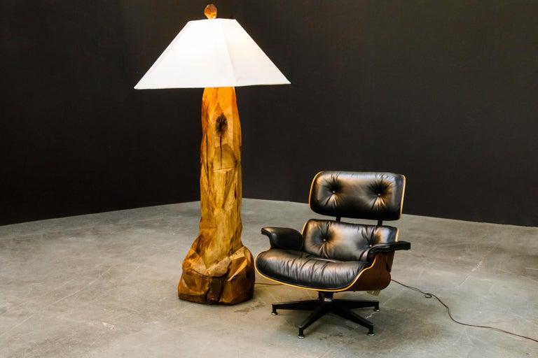 Large Sculptural California Craftsman Carved Wood Floor Lamp, circa 1970s 12
