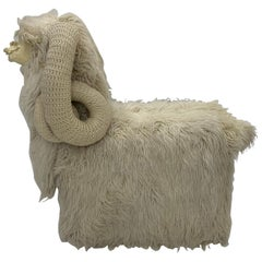 Large Sculptural Edna Cataldo Llamas Flokati Wool Bench