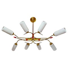 Large Sculptural French Maison Arlus Mid-Century Modernist Art Deco Chandelier