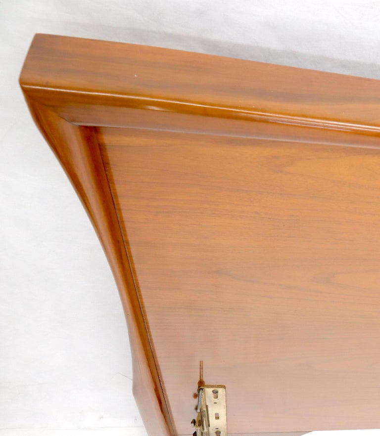 Large Sculptural Light Mid-Century Modern Walnut King Size Headboard Bed For Sale 2