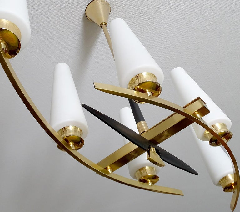 Large Sculptural  Maison Arlus Brass Chandelier Glass Globes, Stilnovo Ponti Era For Sale 4