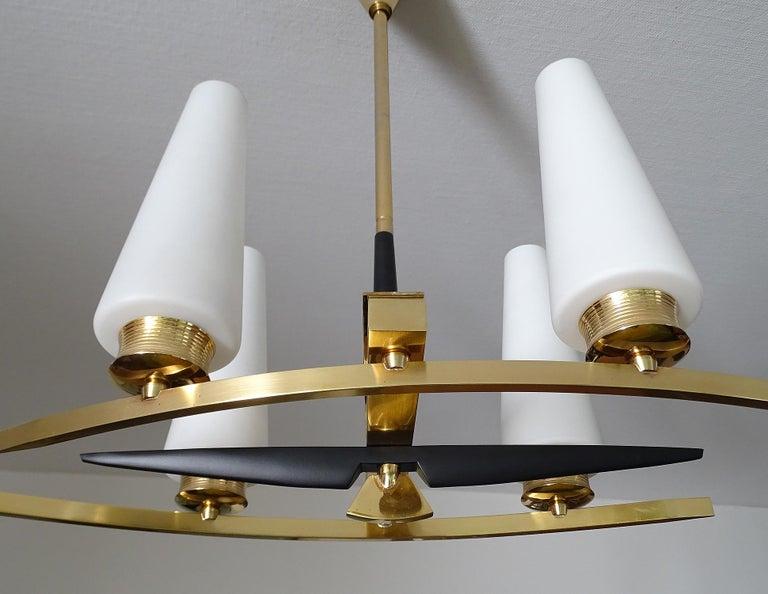 Large Sculptural  Maison Arlus Brass Chandelier Glass Globes, Stilnovo Ponti Era For Sale 5