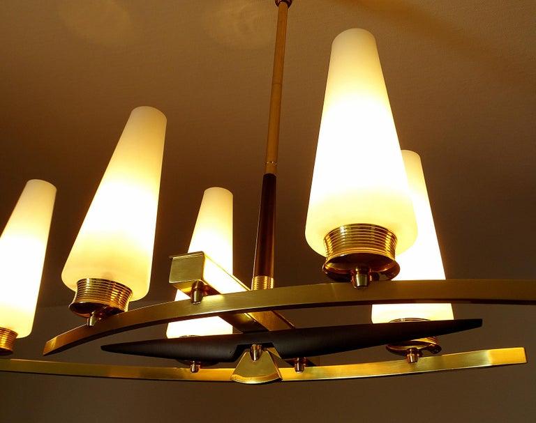 Large Sculptural  Maison Arlus Brass Chandelier Glass Globes, Stilnovo Ponti Era For Sale 6