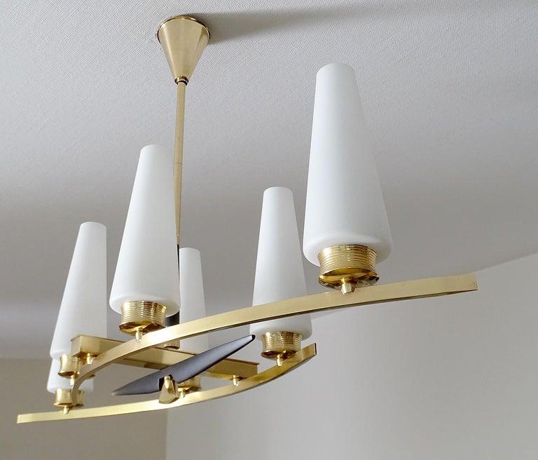 Large Sculptural  Maison Arlus Brass Chandelier Glass Globes, Stilnovo Ponti Era For Sale 7