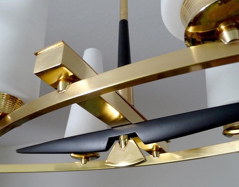 Large Sculptural  Maison Arlus Brass Chandelier Glass Globes, Stilnovo Ponti Era For Sale 8
