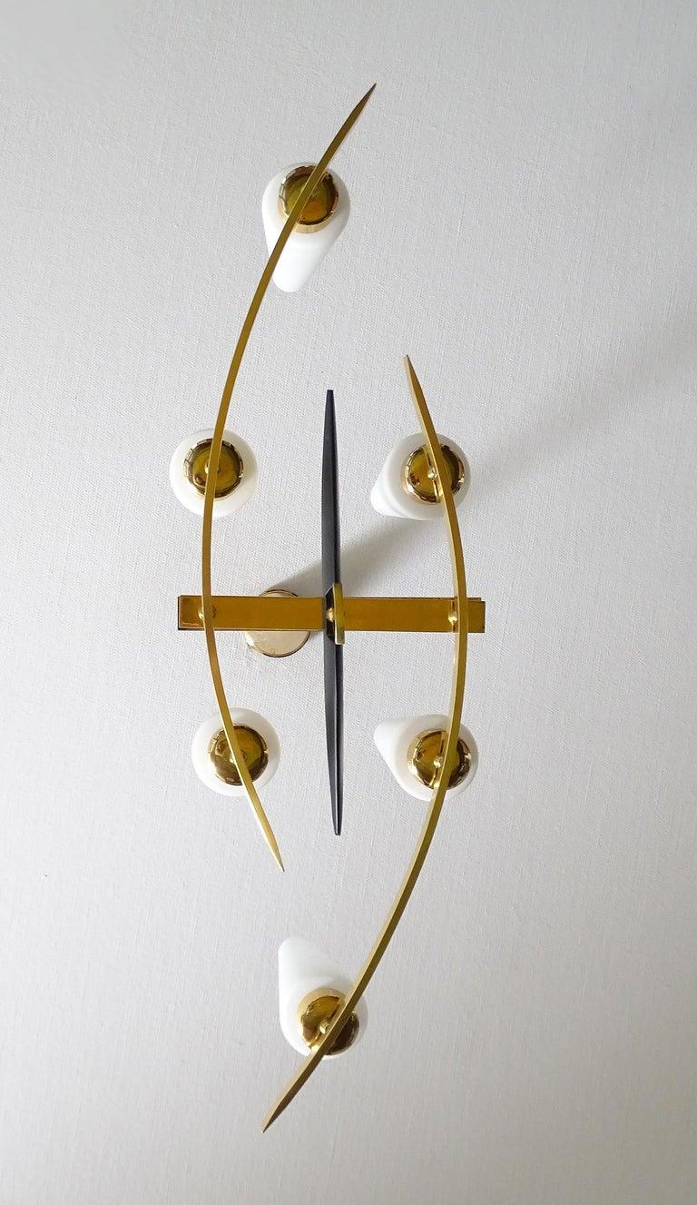 Large Sculptural  Maison Arlus Brass Chandelier Glass Globes, Stilnovo Ponti Era For Sale 9