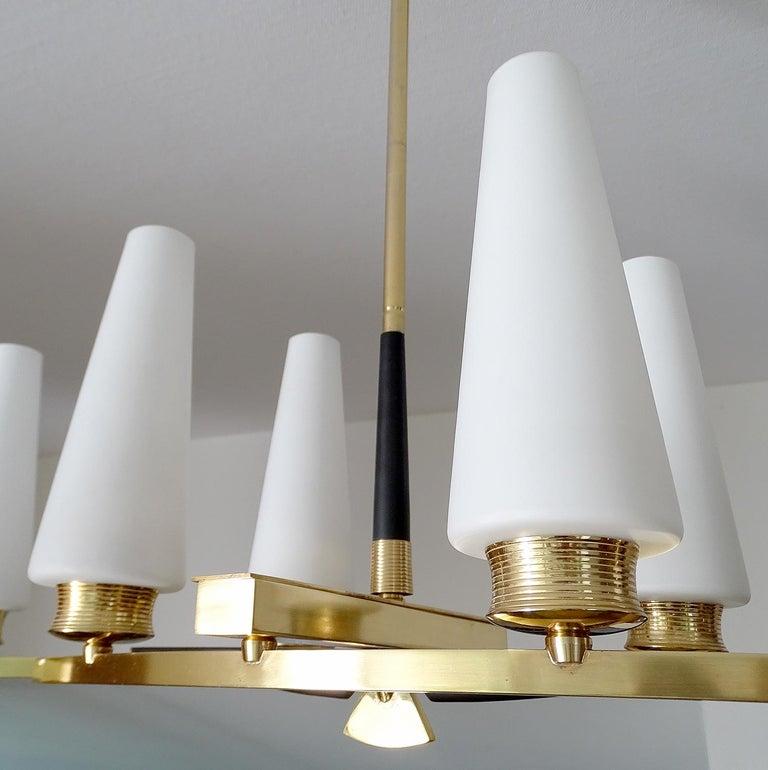 Large Sculptural  Maison Arlus Brass Chandelier Glass Globes, Stilnovo Ponti Era For Sale 10
