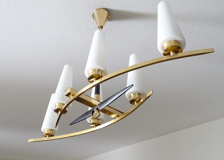 Mid-Century Modern Large Sculptural  Maison Arlus Brass Chandelier Glass Globes, Stilnovo Ponti Era For Sale