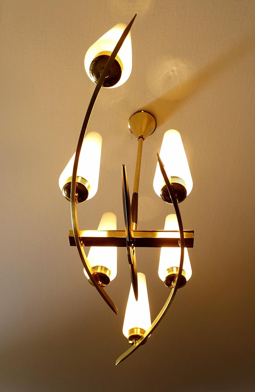 Mid-20th Century Large Sculptural  Maison Arlus Brass Chandelier Glass Globes, Stilnovo Ponti Era For Sale
