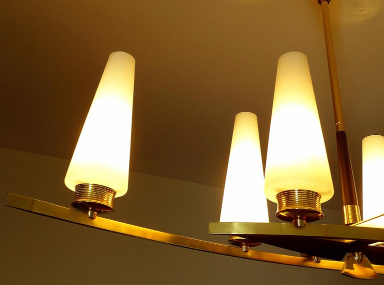 Large Sculptural  Maison Arlus Brass Chandelier Glass Globes, Stilnovo Ponti Era For Sale 3