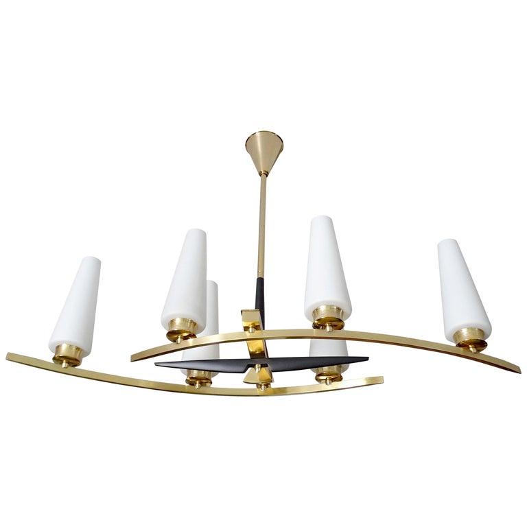 Large Sculptural  Maison Arlus Brass Chandelier Glass Globes, Stilnovo Ponti Era For Sale