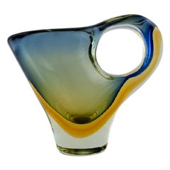 Large Sculptural Murano Vase / Pitcher in Mouth-Blown Art Glass, 1960s-1970s