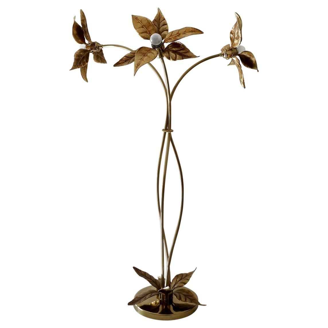 Large Sculptural Organic Brass and Gilt Metal Flower Leaf Floor Light, 1960s