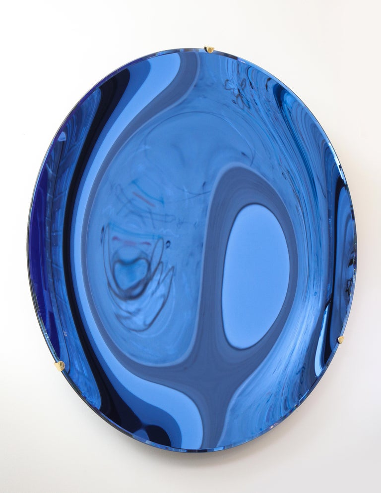 Large Sculptural Round Concave Cobalt Blue Mirror or Wall Sculpture, Italy, 2021 For Sale 4