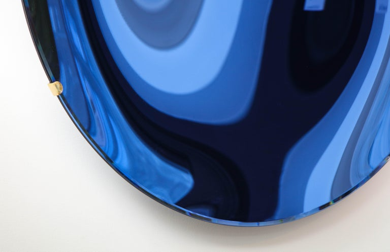 Italian Large Sculptural Round Concave Cobalt Blue Mirror or Wall Sculpture, Italy, 2021 For Sale