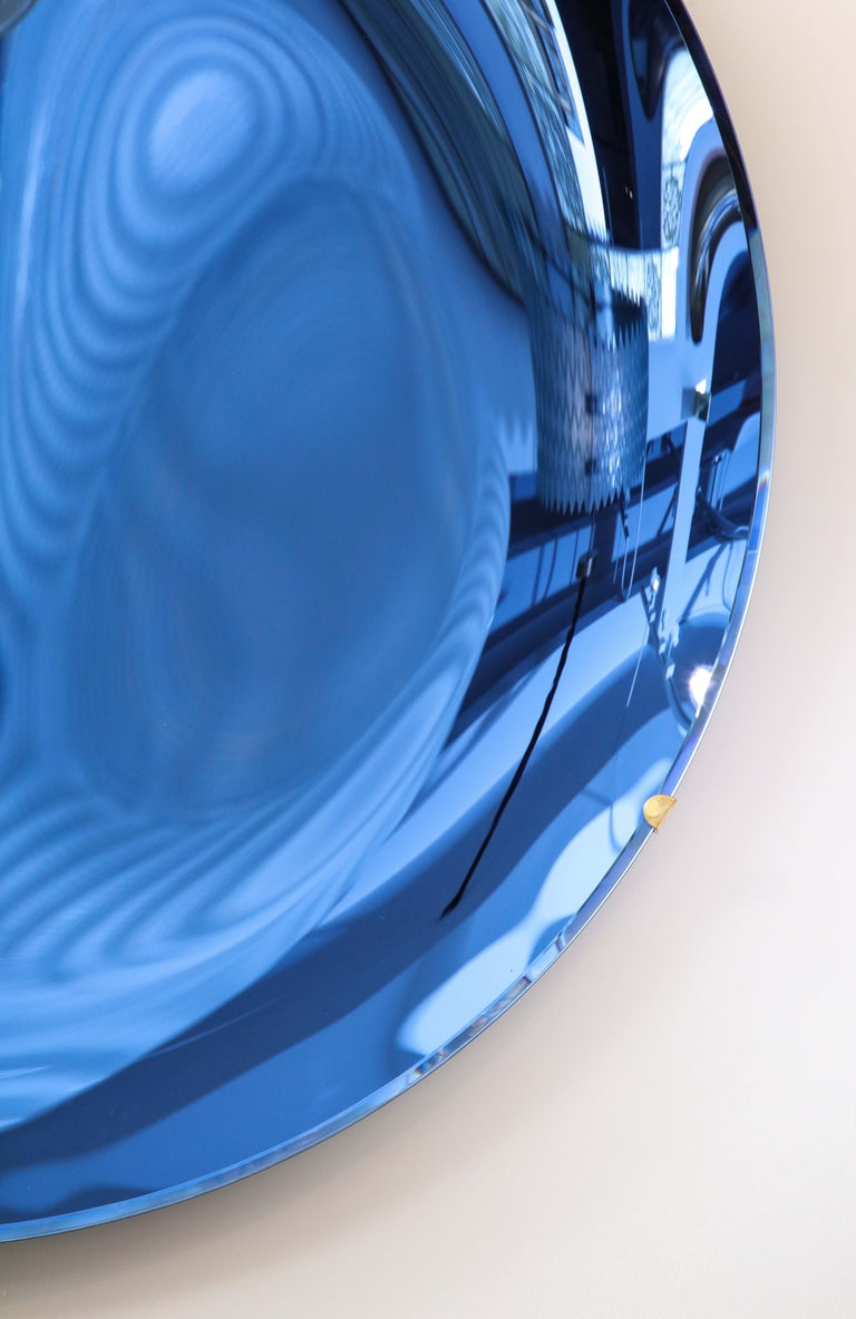 Large Sculptural Round Concave Cobalt Blue Mirror or Wall Sculpture, Italy, 2021 For Sale 1