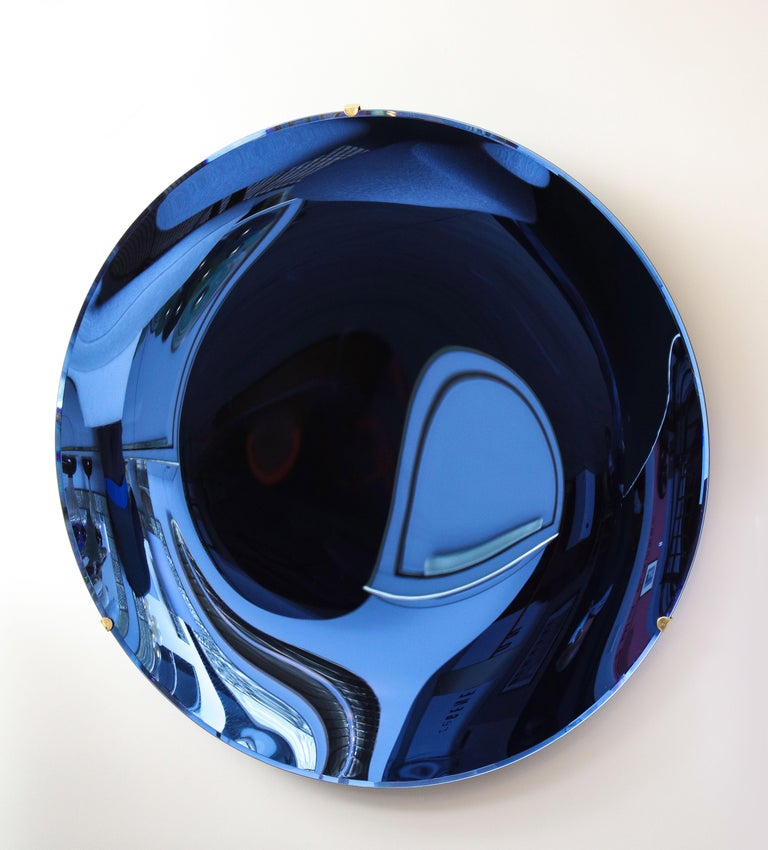 Large Sculptural Round Concave Cobalt Blue Mirror or Wall Sculpture, Italy, 2021 For Sale 2