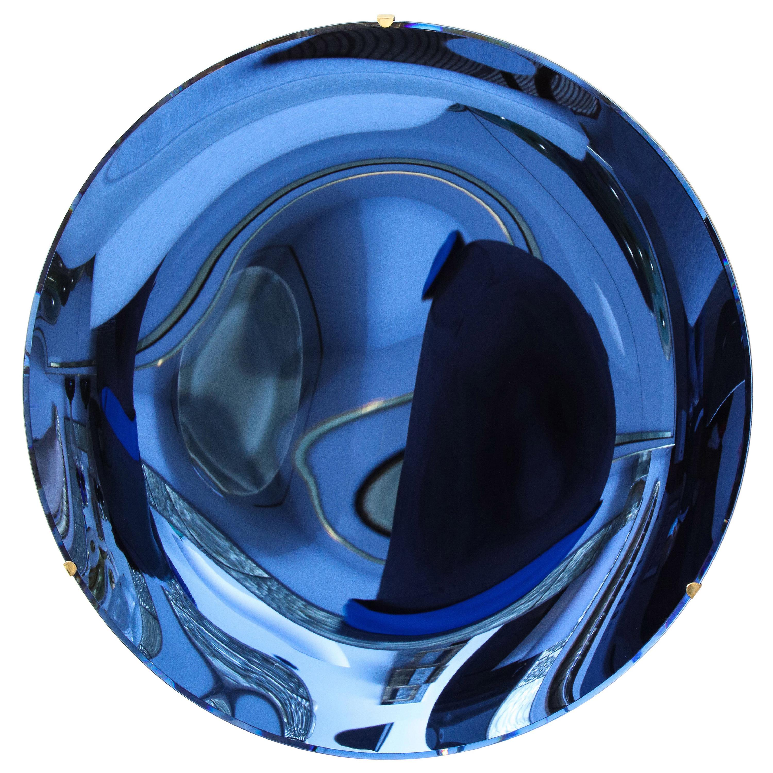 Large Sculptural Round Concave Cobalt Blue Mirror or Wall Sculpture, Italy, 2021