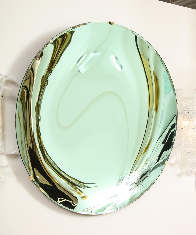 Hand-Crafted Large Sculptural Round Concave Green