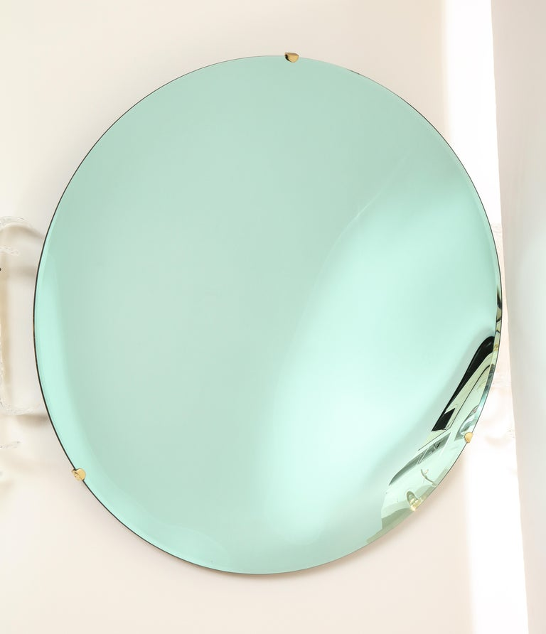 Contemporary Large Sculptural Round Concave Green