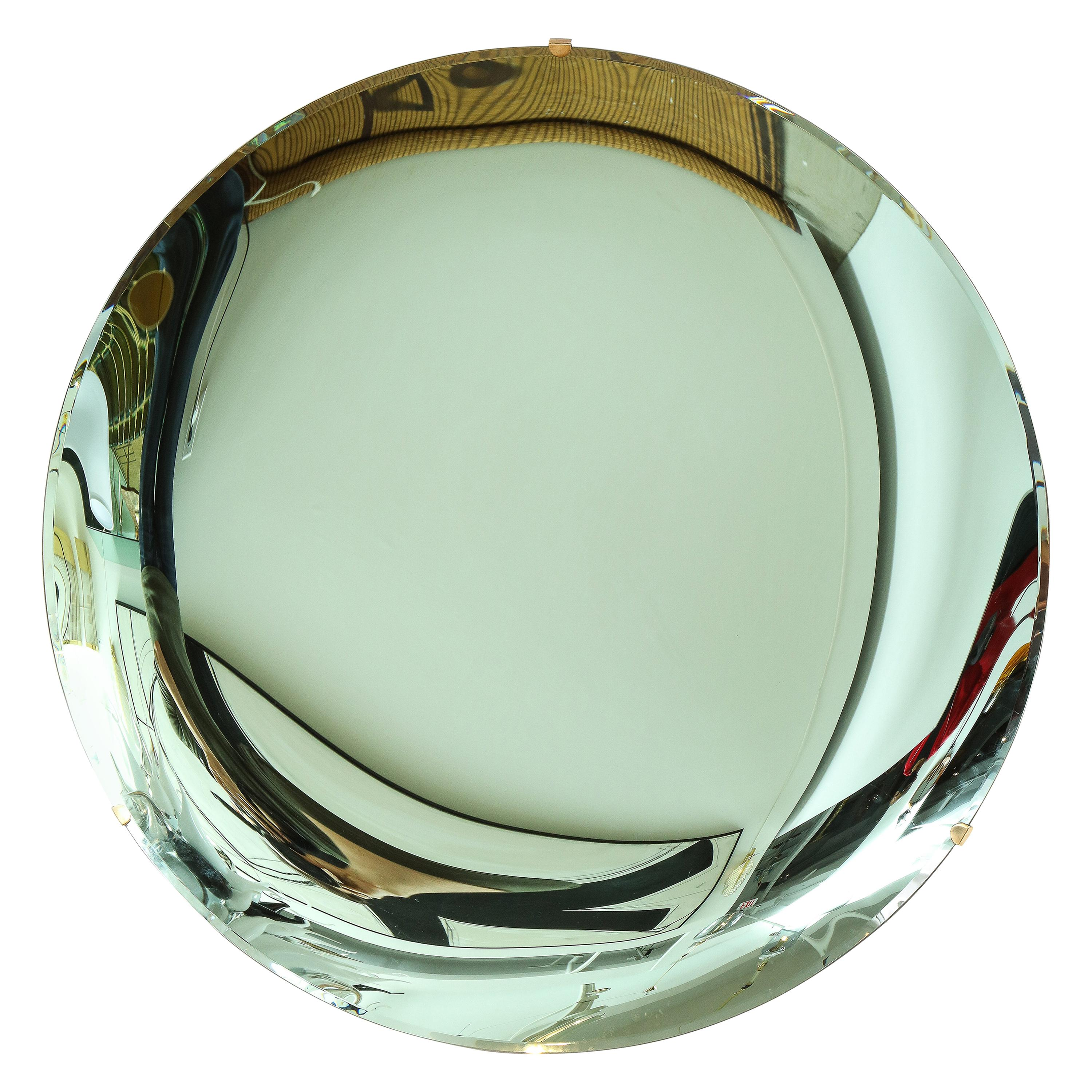 """Large Sculptural Round Concave Green """"Verde"""" Mirror, Italy, 2021"""