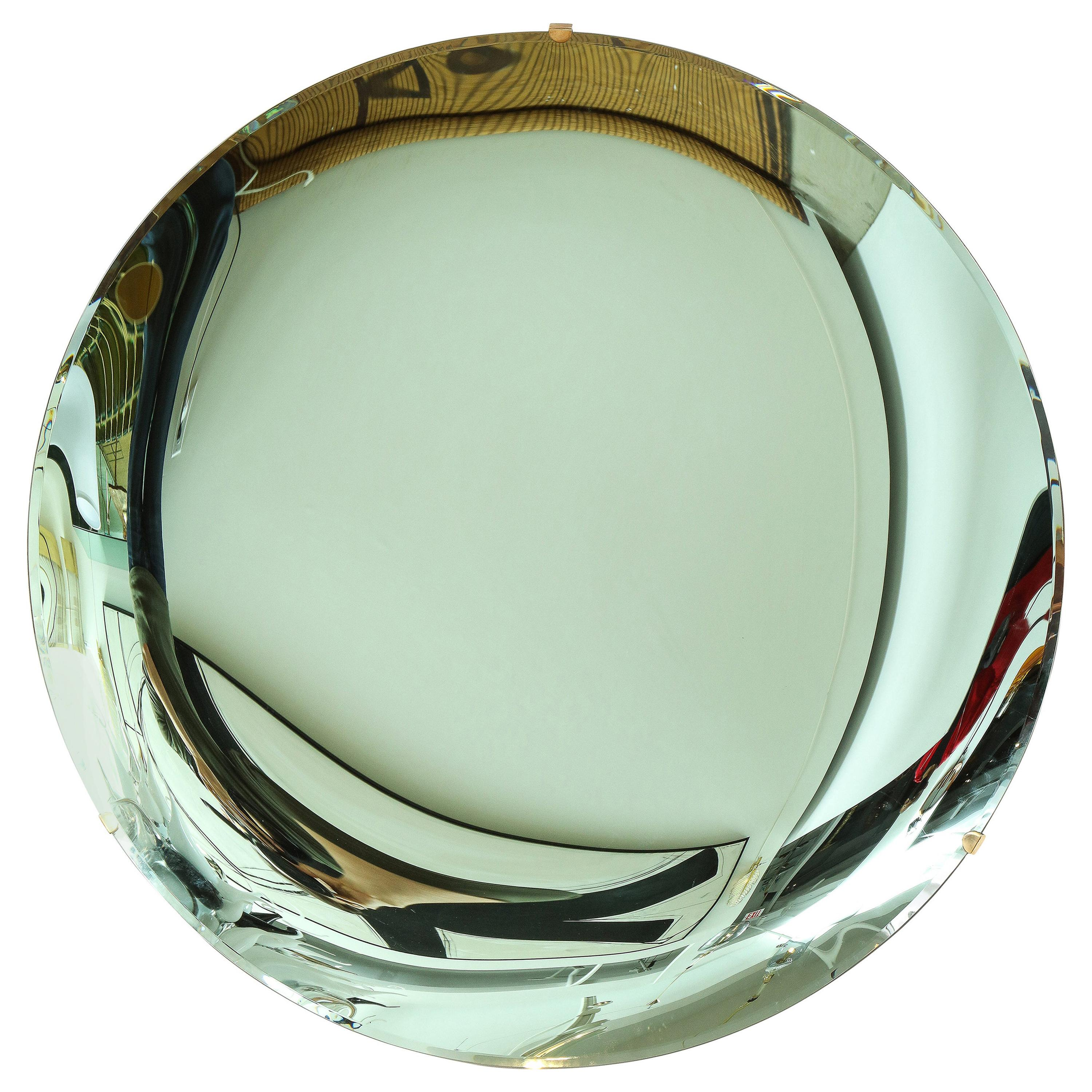 """Large Sculptural Round Concave Green """"Verde"""" Mirror or Wall Art, Italy, 2021"""