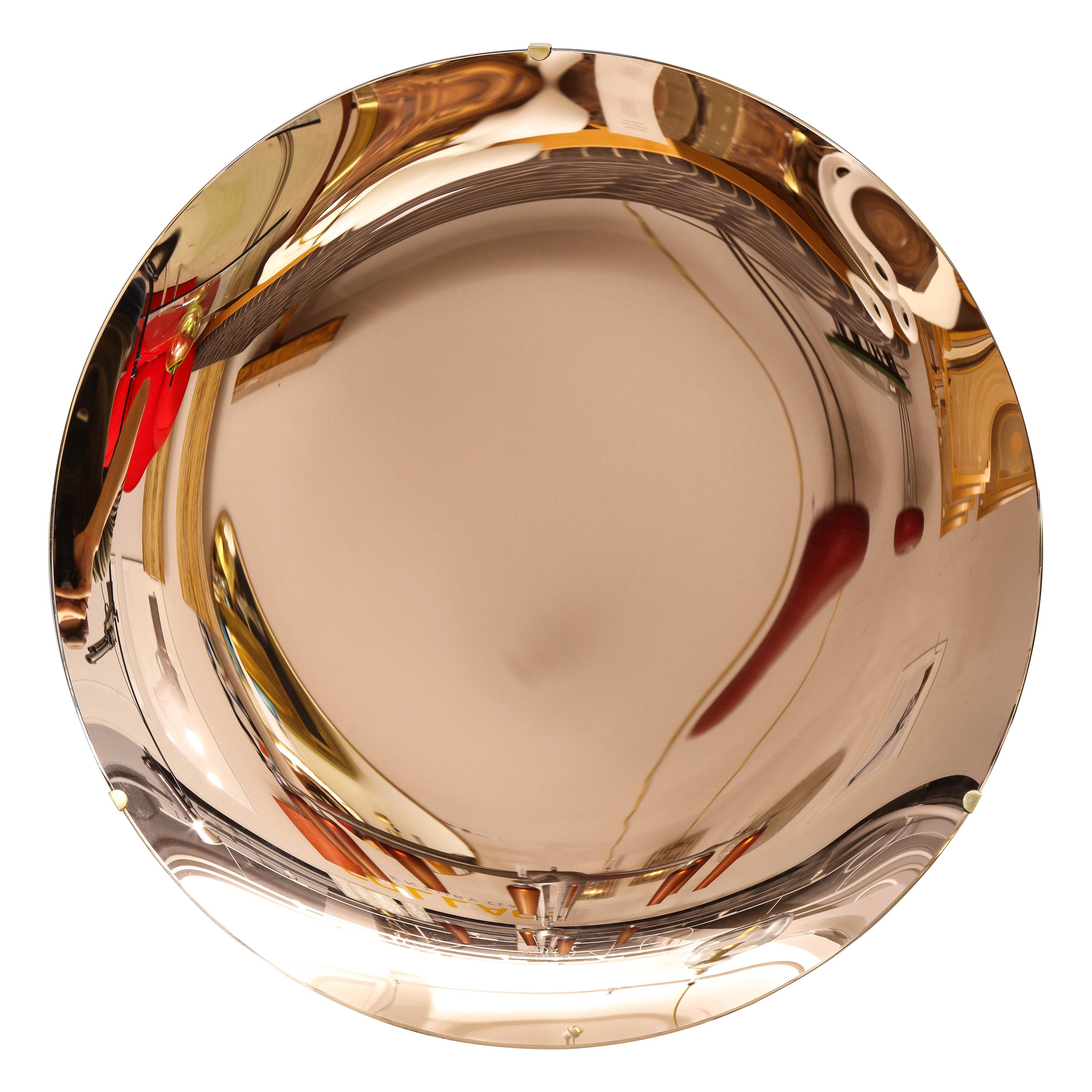"Large Sculptural Round Concave Rose ""Rosa"" Mirror, Italy, 2021"