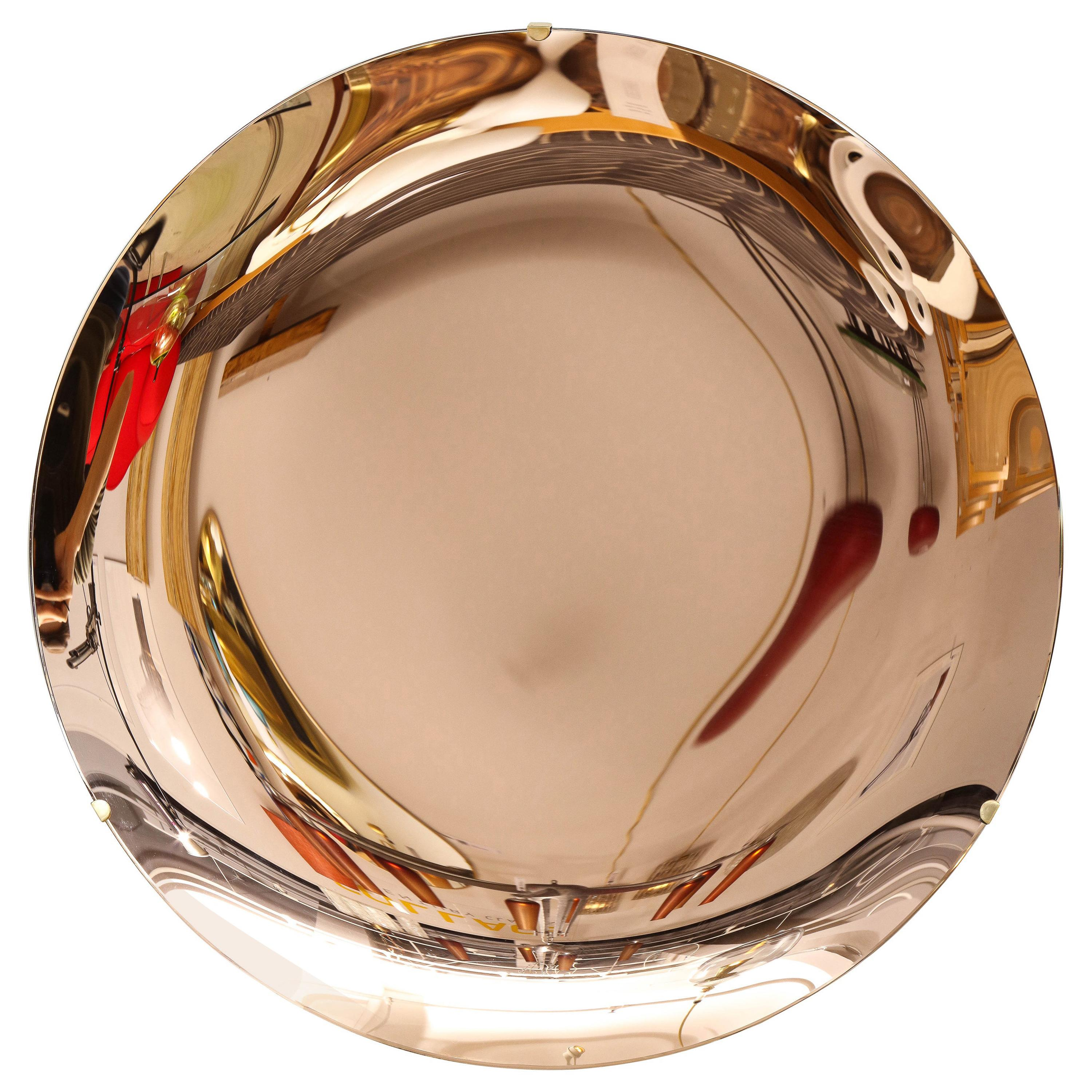 """Large Sculptural Round Concave Rose """"Rosa"""" Mirror or Wall Art, Italy, 2021"""