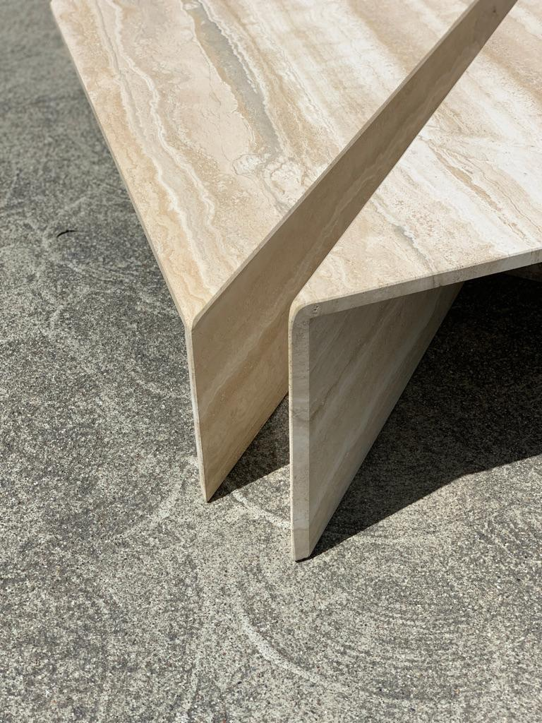 Italian Large Sculptural Travertine Bi-Level Coffee Table