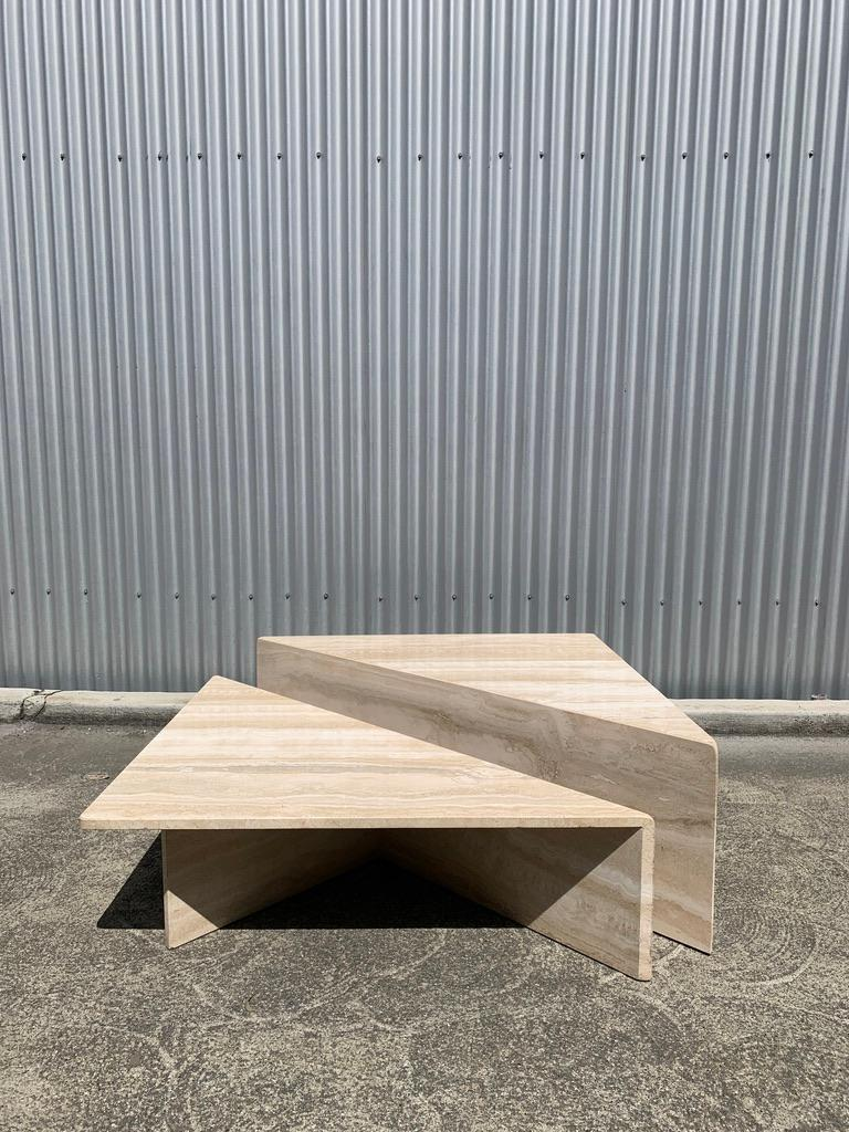 Late 20th Century Large Sculptural Travertine Bi-Level Coffee Table