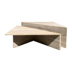 Large Sculptural Travertine Bi-Level Coffee Table