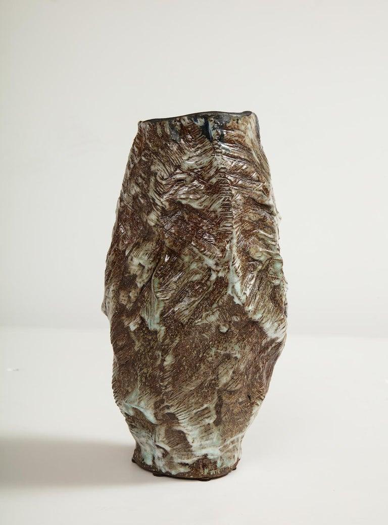 Hand-built, glazed stoneware vase form. Signed and dated on underside.