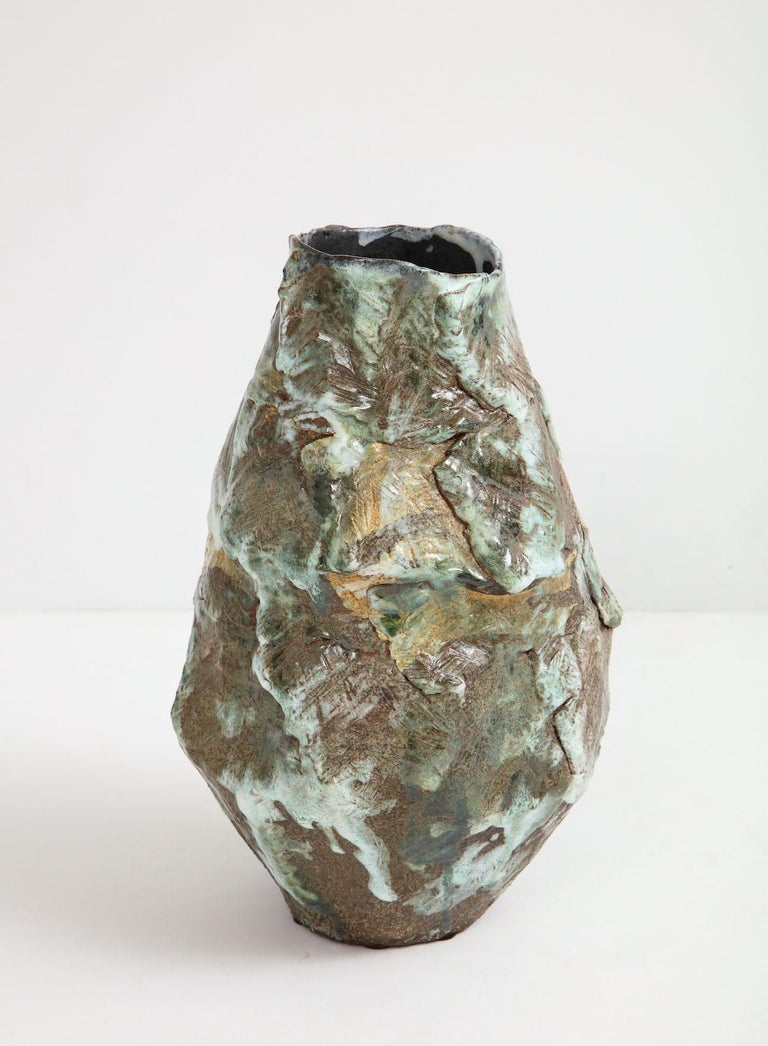 Large sculptural vase #5 by Dena Zemsky. Hand-built, glazed stoneware vase form. Signed and dated on underside.