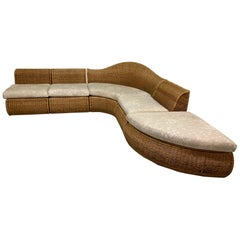 Large Sculptural Wicker Sectional Sofa