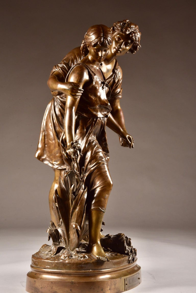 Neoclassical Large Sculpture L'Ave, Hippolyte Moreau, Young Couple in Love, circa 1890 For Sale