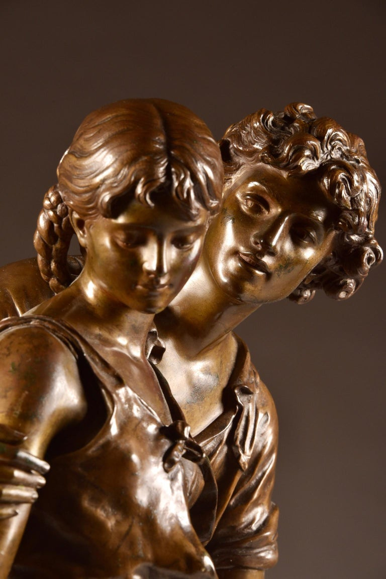 French Large Sculpture L'Ave, Hippolyte Moreau, Young Couple in Love, circa 1890 For Sale