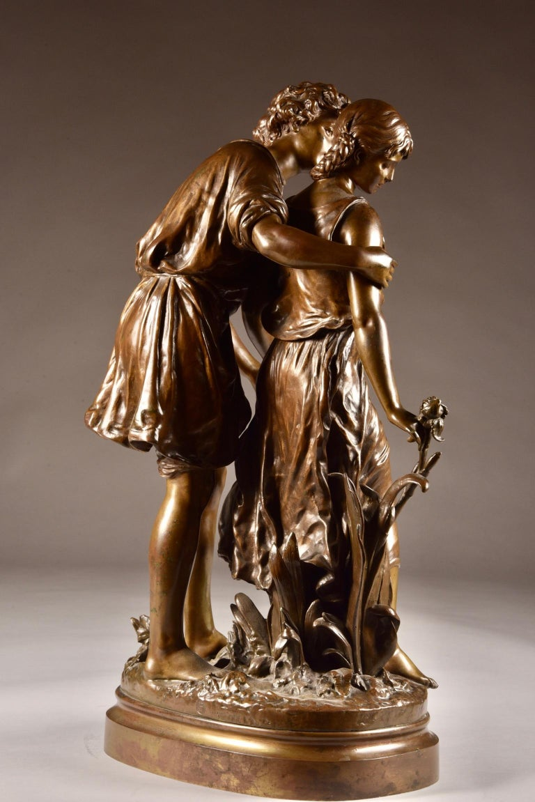 Cold-Painted Large Sculpture L'Ave, Hippolyte Moreau, Young Couple in Love, circa 1890 For Sale