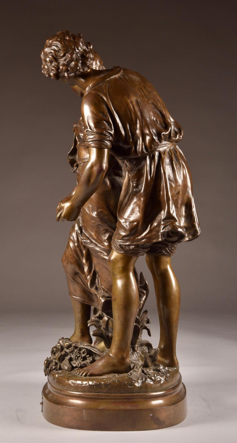 Large Sculpture L'Ave, Hippolyte Moreau, Young Couple in Love, circa 1890 In Good Condition For Sale In Ulestraten, Limburg