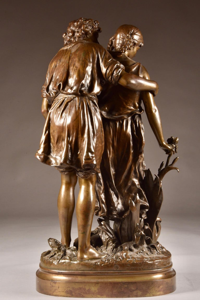 19th Century Large Sculpture L'Ave, Hippolyte Moreau, Young Couple in Love, circa 1890 For Sale