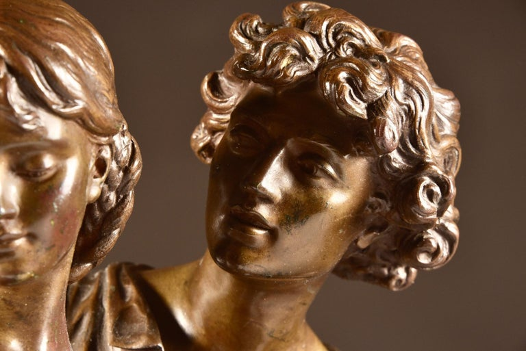 Bronze Large Sculpture L'Ave, Hippolyte Moreau, Young Couple in Love, circa 1890 For Sale