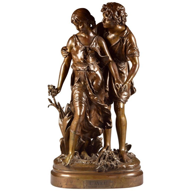 Large Sculpture L'Ave, Hippolyte Moreau, Young Couple in Love, circa 1890 For Sale