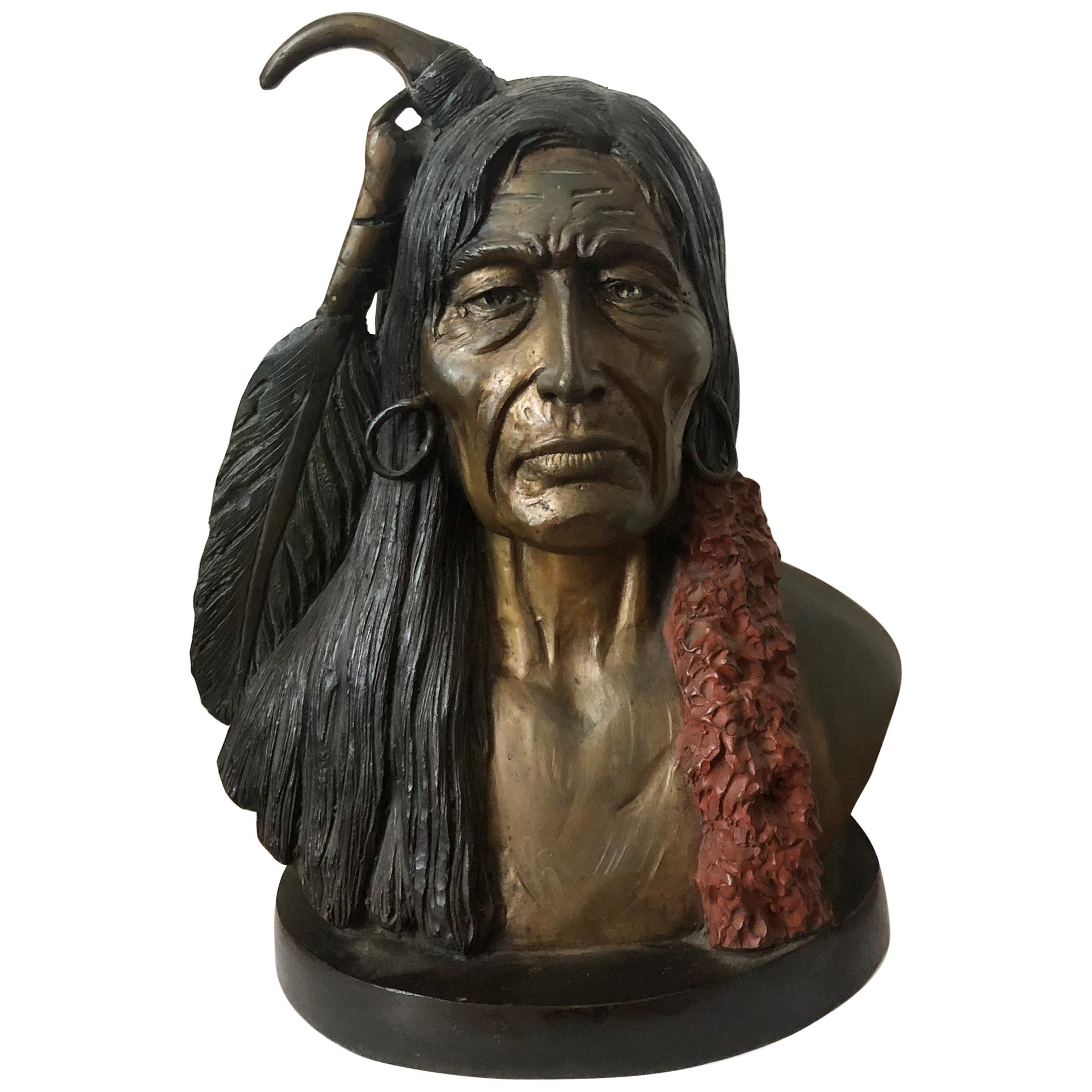 Large Sculpture of American Indian Face
