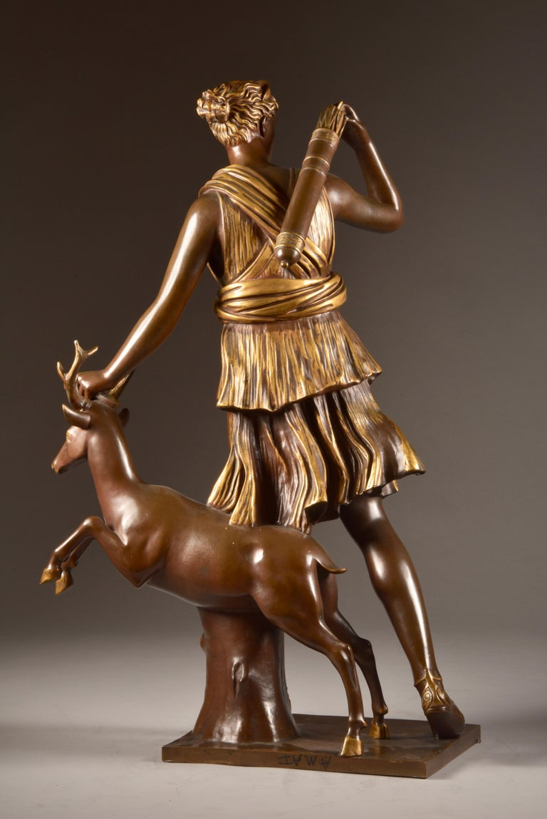 Large Sculpture of Diana the Huntress, F. Barbedienne & A. Collas, 19th Century For Sale 10