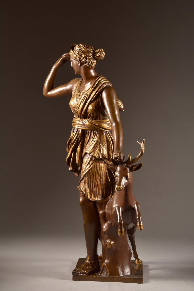 Large Sculpture of Diana the Huntress, F. Barbedienne & A. Collas, 19th Century For Sale 12