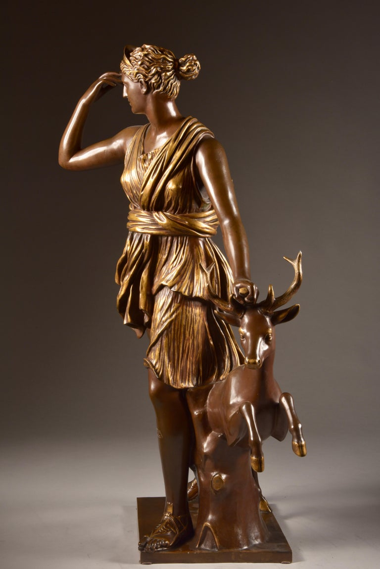 A very large and well-cast, high quality French bronze sculpture of Diana the Huntress, Signed by F. Barbedienne (foundry) and stamp of A. Collas.